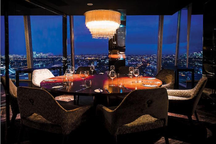 Luxury private dining rooms at aqua shard for Restaurants at the shard