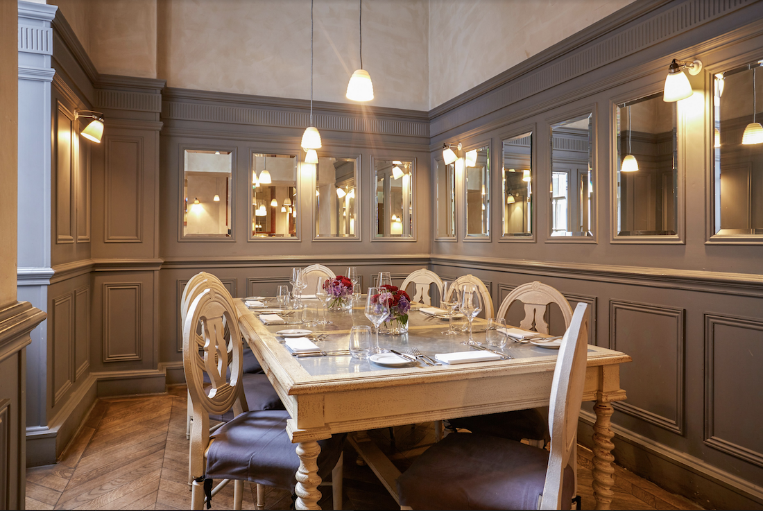 Luxury private dining rooms at aubaine mayfair for Best private dining rooms mayfair