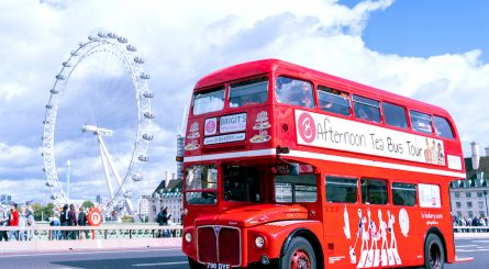Brigit's Afternoon Tea Bus Tour Driving With London Eye In Background 1 445x245