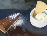 Le Café du Marché Food Image Chocolate Tart With Ice Cream