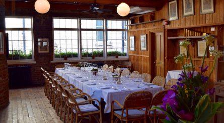 Le Café du Marché Grenier Private Dining Room Table Set Boardroom Style 1