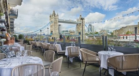 Private Dining Room at Le Pont de la Tour - Restaurant Terrace Image With Tower Bridge In Background, City of London