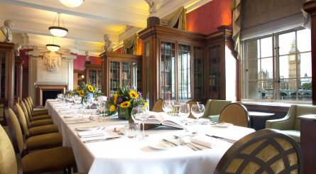 London Marriott Hotel County Hall Private Dining Room Image The Library Set Table With Big Ben In Background 1 445x245