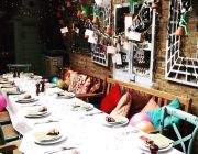 Megan's King's Road Private Dining Image Table Set For 20 Guests Along Left Of Garden