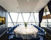 Seacys at The Gherkin Private Dining Room Image Table Set For 16 Guests With View Of London Skyline