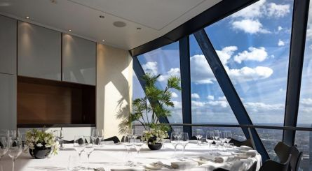 Searcys At The Gherkin Small Boardroom Private Dining Room Image With London Skyline 445x245