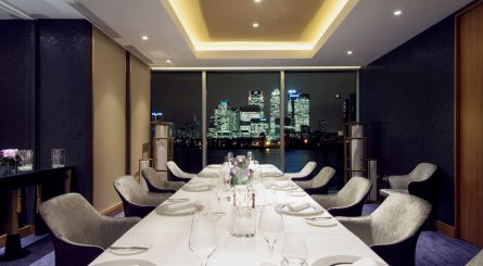 Private Dining Suite at Peninsula Restaurant With View Of Canary Wharf Night Image 1