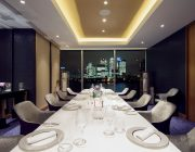 Private Dining Suite at Peninsula Restaurant With View Of Canary Wharf Night Image