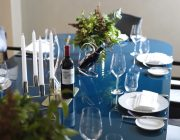 The Athenaeum Hotel Residences Private Dining Room Image Set Table With Claret Glasses Candles.