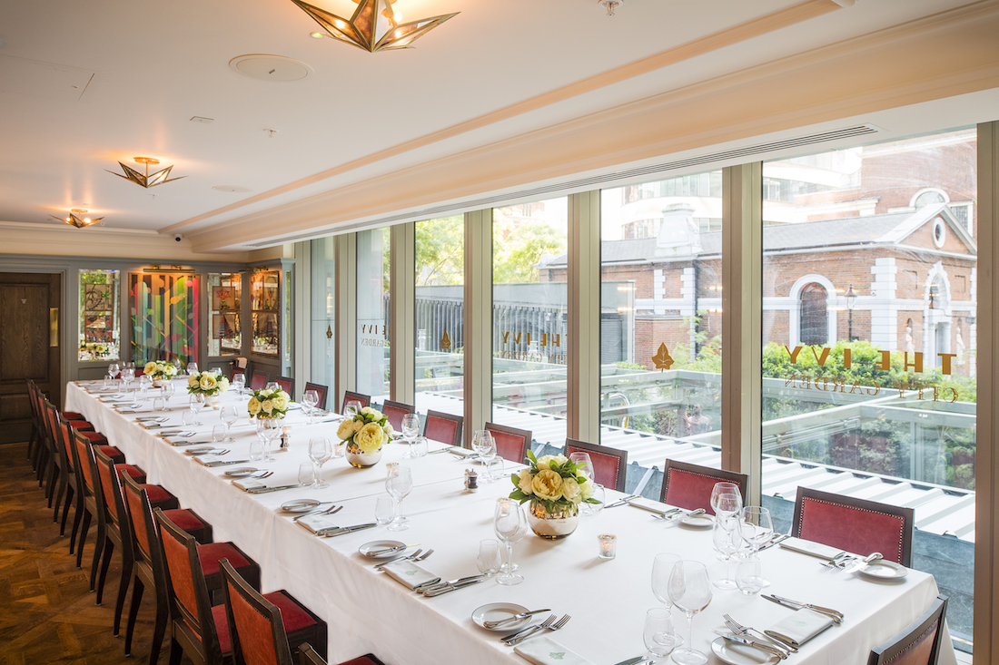Private dining rooms at the ivy city garden the city for Best private dining rooms uk