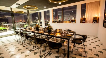 Interior of the private dining rooms at Sea Containers Events - South Bank - London SE1