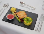 The Grosvenor Hotel Private Dining Food Image Fish Main Course Served On Black Slate