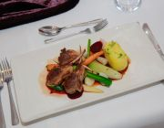 The Grosvenor Hotel Private Dining Food Image Lamb Cutlets With Vegetables Main Course Served On Rectangular White China Plate