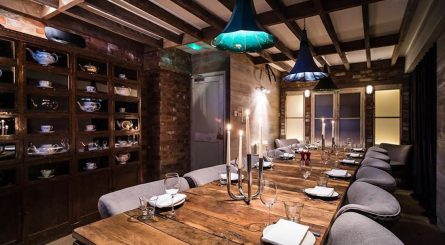 Interior of the luxury private dining room at Village East in Bermondsey, London SW!