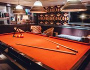 100 Wardour St Private Room With Orange Beize Snooker Table