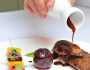 Pied a Terre Food Image Gravy Poured On Meat Dish