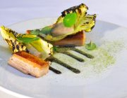 Pied a Terre Food Image Salmon With Charred Chicory