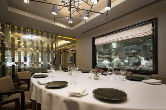 Murano By Angela Hartnett Private Dining Room Image View Of Chefs In Kitchen Through Glass Window 1 335x223