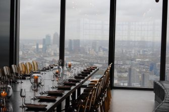 SUSHISAMBA City The Lounge Private Dining Room Image With View Of Canary Wharf In Background 335x223