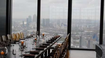 SUSHISAMBA City The Lounge Private Dining Room Image With View Of Canary Wharf In Background 445x245