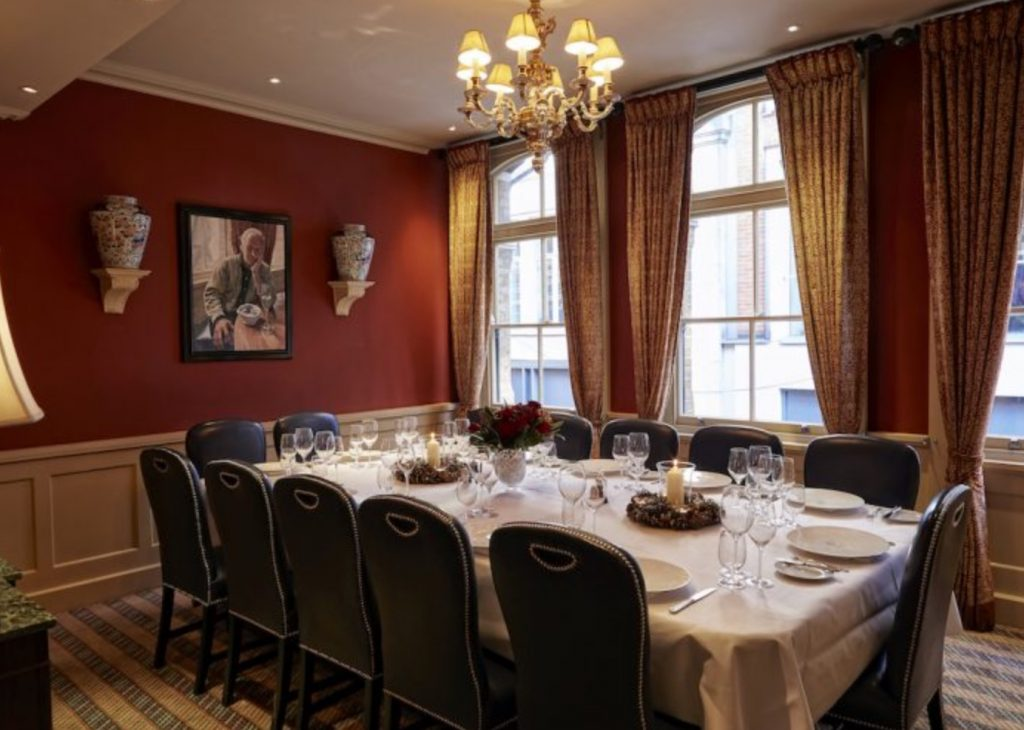 Private Dining Room At Bentleys Mayfair 1024x730