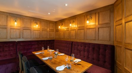 28° 50° Wine Workshop Kitchen Chelsea Private Dining Event Space Image Banquette Seating 445x245