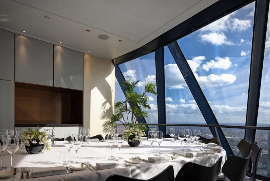 Searcys At The Gherkin Small Boardroom Private Dining Room Image With London Skyline 1024x686