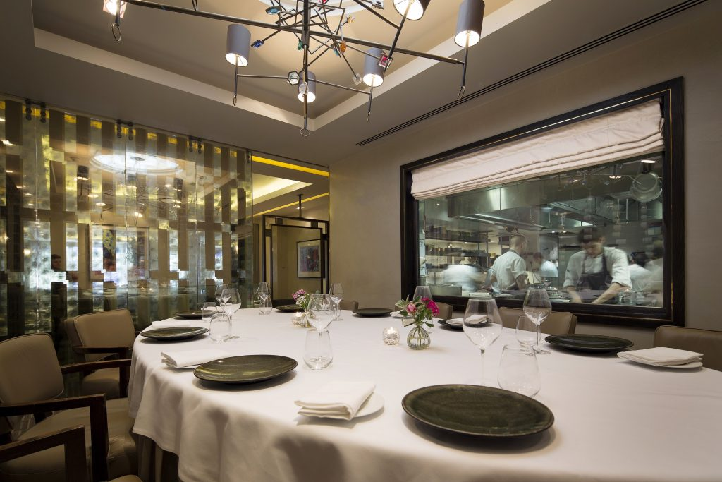 Murano By Angela Hartnett Private Dining Room Image View Of Chefs In Kitchen Through Glass Window 1024x683
